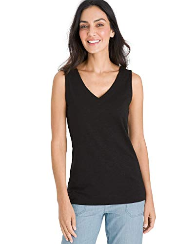 Chico's Women's Essentials Lightweight Cotton-Blend Slub V-Neck Sleeveless Tank Top, New Black, 12/14 - L (2)