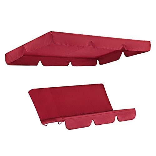 MARKOO Juego de 2 fundas de repuesto para sillas de jardín macizas de jardín, para patio, protección universal, impermeable, resistente al sol, para sombrilla de 3 plazas, color rojo 195 x 125 x 15 cm