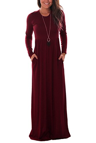 DawnRaid Women's Round Neck Long Sleeves A-line Casual Dress with Pocket Wine Red Large