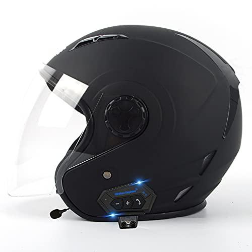 Bluetooth Open Face Helmet Motorcycle 3/4 Half Helmet DOT/ECE Approved Motorbike Crash Helmet with Sun Visor Retro Vintage Style Motorbike Helmet for Adult,L,M=(57~58CM)