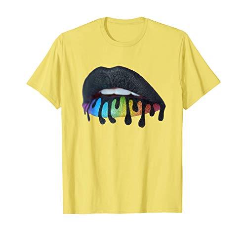 Camisetas y Tops Polos y Camisas, tee Blood Black Rainbow Lips Teeth Yell Camiseta Retro Vintage