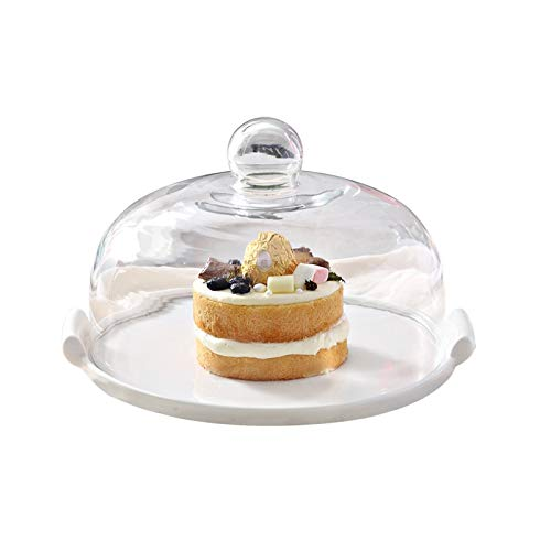 PETAAA Living Room Dessert Table, Hotel Glass Domed cake stands Ceramic Plate Cake Domed cake stands Cake Plate Bread Fruit Domed cake stands Cheese Vegetable Plate (Size : 23 * 23 * 15CM)