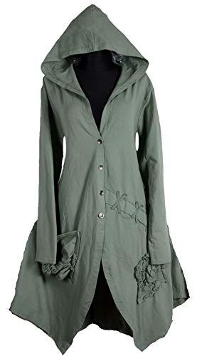 Damen Lagenlook Kapuze Mantel Swinger Trench Coat 42 44 46 48 50 M L XL XXL Wintermantel Übergang Winter Khaki Gothik (46)