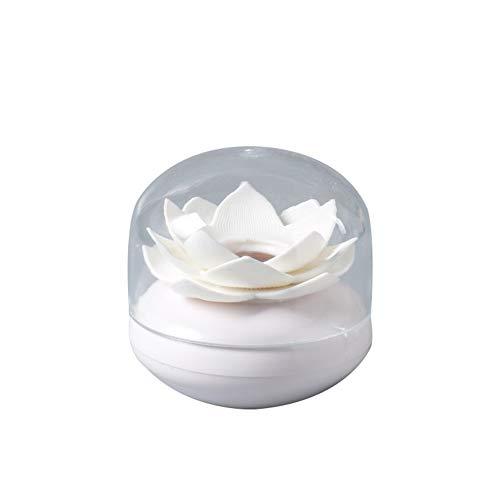 Msyou cotone Asta scatola creativa Lotus forma coton-tige coton-tige supporto distributore scatola portaoggetti per la decorazione della casa Accessroies, Plastica, bianco, 8.1 * 8.1 * 8.4 cm