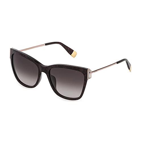 FURLA Gafas de sol SFU462 0V20 55-17-135 para mujer, burdeos nacarado, lentes marrones degradadas y rosa