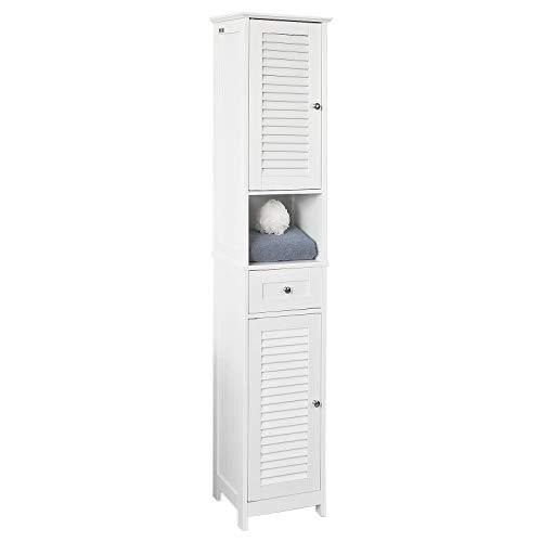 SoBuy® FRG236-W Badezimmer-Hochschrank Badregal Badschrank Badmöbel mit 1 offenem Fach, 1 Schublade und Türen, weiß BHT ca: 32X170X30cm