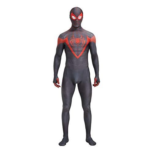ZYZQ PS5 Spiderman Miles Morales Morales Body 3D Halloween Fancy Dress Traje para Unisex Kids Party Pelcula Disfraz Props Onesies Disfraces,Black-Adults~M(150~160cm)