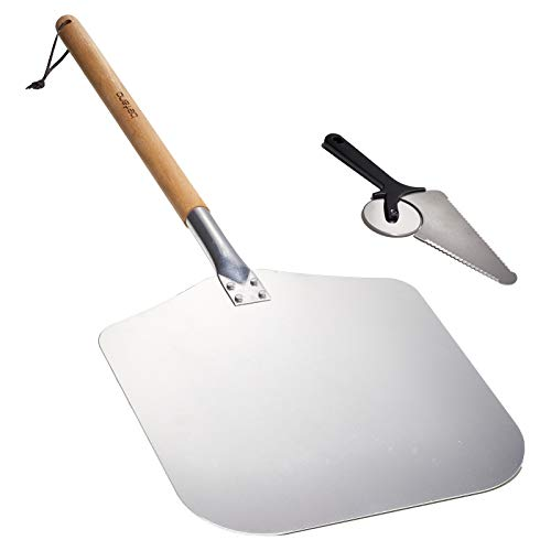 Befano Detachable Metal Pizza Peel 14 x 12 Inch Large Aluminum Pizza Peel with Pizza Cutter for Grill Oven