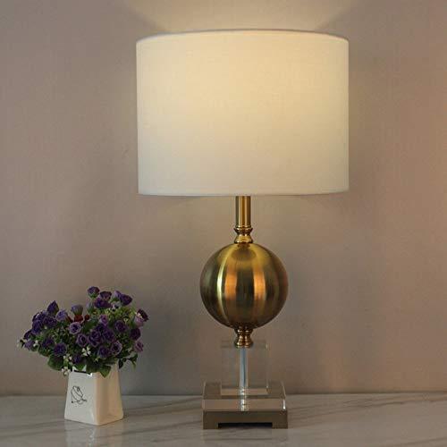 Zzyff Blanco lámpara de mesa, sala de estar decorativa lámpara de mesa, lámpara de cabecera del dormitorio, lámpara de mesa de cristal, metal lámpara de mesa, de grandes dimensiones lámpara de mesa (E
