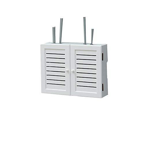 ZHAOYAN Caja de almacenamiento inalámbrica sin perforaciones, para colgar en la pared, WiFi, información multimedia, decoración de la cubierta, set-top box, estante Whitetromppet