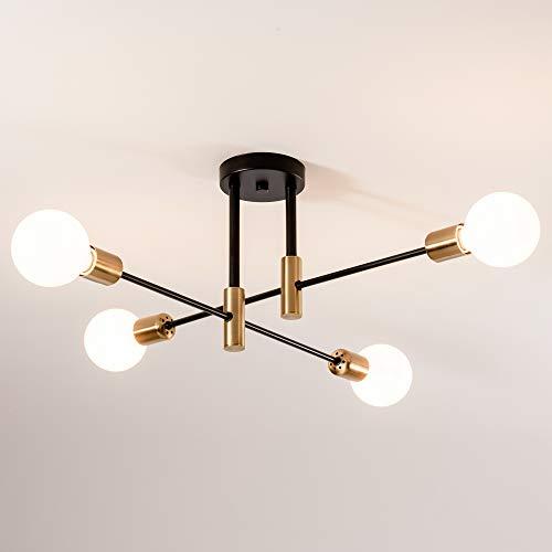 Lámpara de araña Nordic Sputnik, SOZOMO Post, moderna, Sputnik, century, color negro y dorado, lámpara colgante E27 semiFlush Mount para salón comedor loft (4 luces)