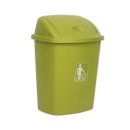 JUIO La basura al aire libre puede, de plástico cubierta de la sacudida cubo de basura, for la cocina Jardín Compras Escuela de Fábrica de residuos Cubo, Verde, 30L, 40L, 65L (Size : 40l)