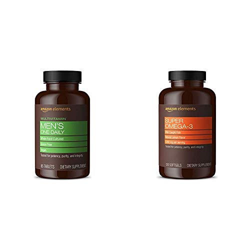 Amazon Elements Men's One Daily Multivitamin, 62% Whole Food Cultured, Vegan, 65 Tablets, 2 Month Supply & Super Omega-3, Natural Lemon Flavor, 1280 mg per Serving (2 Softgels), 120 Softgels