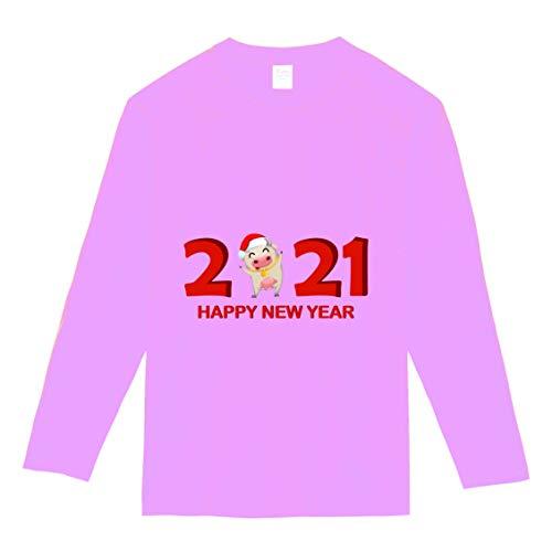 【】選べる6色 2021 新年 丑年 おもしろ tシャツ Tシャツ メンズ レディース キッズ 長袖 子供 大人おしゃれ t shirts tsyatu オリジナル お正月 年賀 年末 パーティー ギフトプレゼント プリントTシャツlt102-s05 (ピ