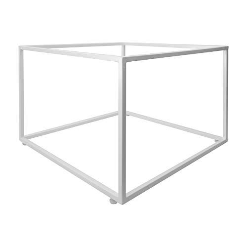Natural Goods Berlin 1x Couchtisch Cube | Beistelltisch aus Metall & Holz | Sofa Kaffeetisch modern Sessel Laptoptisch Würfel | Industrie Design | Nachttisch Loft (ohne Tischplatte, Weiß)
