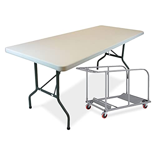 EventStable TitanPRO Plastic Folding Table - Outdoor Folding Table with Cart - Lightweight Fold Up Table for Weddings Cocktail Parties patios - 10-6