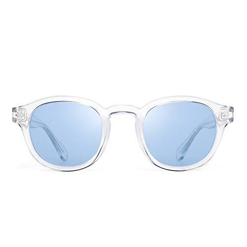 JIM HALO Occhiali da Sole Polarizzati Vintage Rotondi per Donna Montatura Acetato UV400 (Montatura Trasparente/Lente Blu)