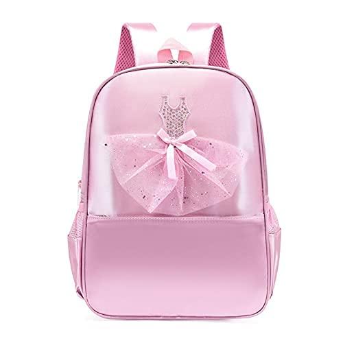 2021 New Girls Dance Bag, Nylon Backpack, Pink Ballet Little Girl Storage Bag, Sequin Decoration Children's School Bag Waterproof and Wear-resistant