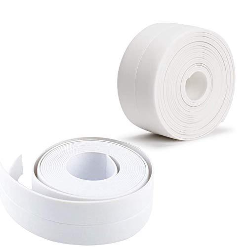 Tira de calafateo, 38mm * 3.2M Cinta de Sellado, Cinta de Sellado Impermeable y Resistente al Moho Tiras Adhesivas Selladoras, para baño, cocina, inodoro, esquina de pared (2 unidades, Blanca)