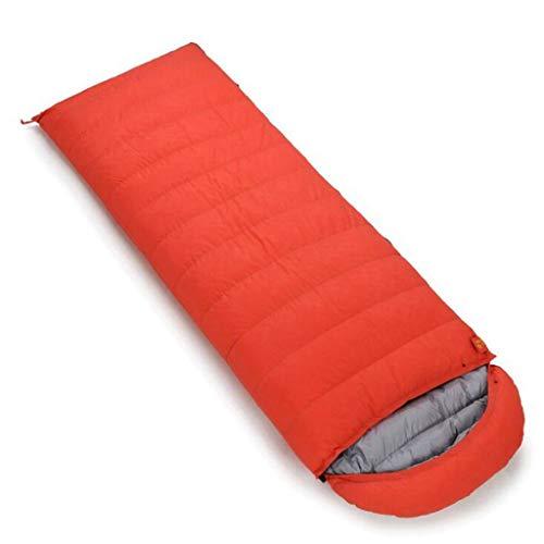 DAFREW Sac de Couchage d'enveloppe, Sac de Couchage extérieur Quatre Saisons avec Sac de Compression (Couleur : Orange, Taille : 0.6KG)