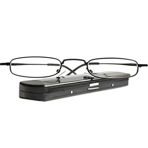 Leichte Metall Mini Lesebrille, Edelstahl Rahmen (Schwarz), mit GRATIS Slim-Fit Alu Flach Brillenetui, Lesehilfe Damen und Herren +2.0 Dioptrien