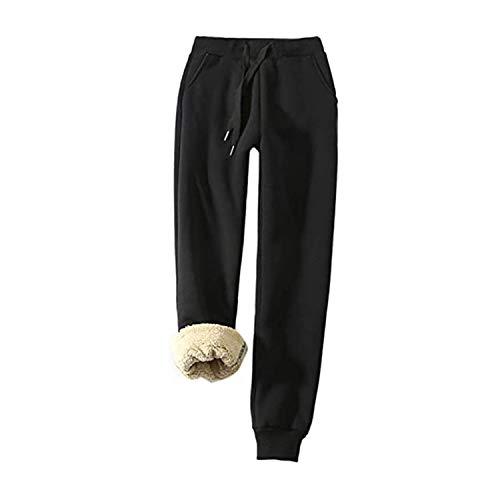 CRTY Caliente de la Mujer Alineada Sherpa Atlética pantalón de Invierno, Entrenamiento Yoga Corrientes atléticos Ocasionales de los Deportes Pantalones de chándal pantalón con Bolsillos