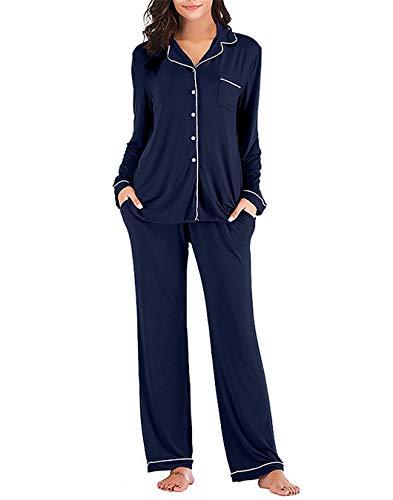 Berylove Damen Schlafanzug Kurzarm Langarm Zweiteiliger Pyjama Set Knopfleiste Verschluss Hausanzug Nachtwäsche BLZ00344 L-Navy XXL