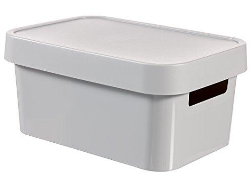 CURVER 04746-099-00 Boîte à Rangement Infinity avec Couvercle 4,5L en Gris Clair, Plastique, 26,8x18,6x12,4 cm