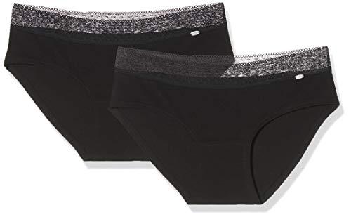 Skiny Damen Advantage Lace Panty 2er Pack Panties, Schwarz (Black 7665), 38