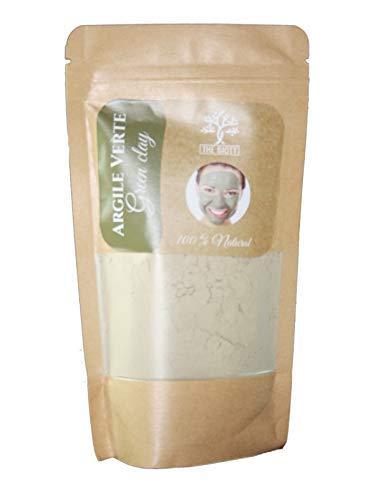 Argile PURE en Poudre 100% naturelle - Purifiante et Tonifiante pour cheveux et visage - du Maroc 200G (200 G) (Verte)