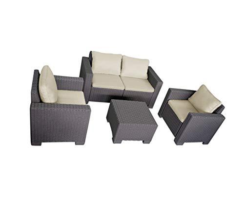 Artillen Outdoor Furniture Artillen Garden Butler California Chair Lounge Chairs Rattan Effect Plastic Set of 4, 2 Sessel + 2er Sofa + 1 Tisch,mit Kissen (Cappuccino)