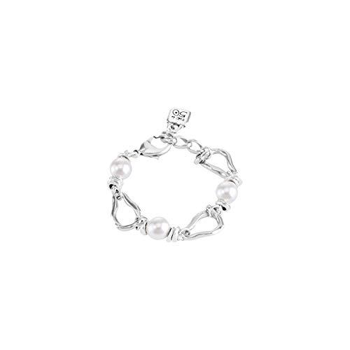 Uno De 50 Pulsera para mujer bañada en plata perla blanca 19 cm - PUL1527BPLMTL0M