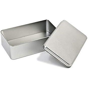 Perfekto24 Caja de Metal con Tapa, 18 x 10,5 x 5,3 cm, Cuadrada, vacía, Plateada, Rectangular, Caja de almacenaje, Lata de Lata, Lata de Almacenamiento Universal: Amazon.es: Hogar