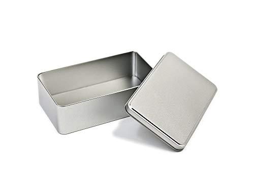 Perfekto24 Lata de almacenamiento en plata – Caja de metal rectangular 18 x 10,5 x 5,3 cm grande lata con tapa – Lata de almacenamiento de metal universal