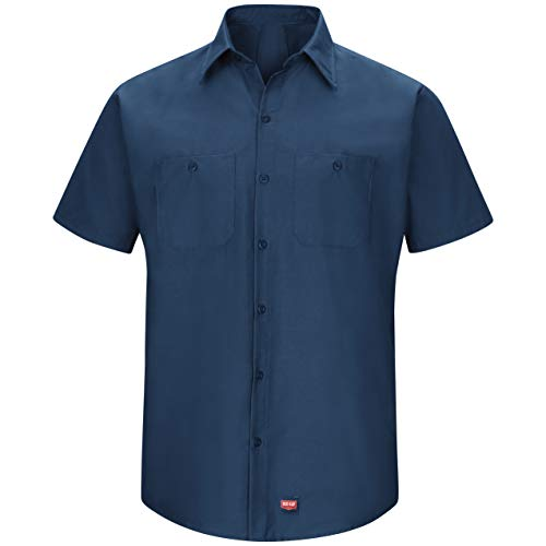 Red Kap Men'sShort Sleeve Work Shirt with Mimix, Navy, Large