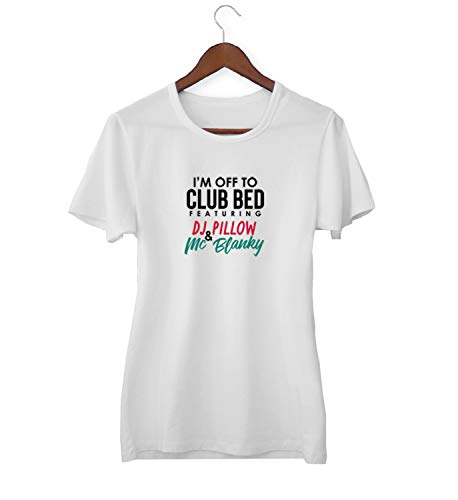Bed Club and DJ Pillow Mix Party Quote_KK016715 T-shirt T-shirt voor vrouwen dames - wit