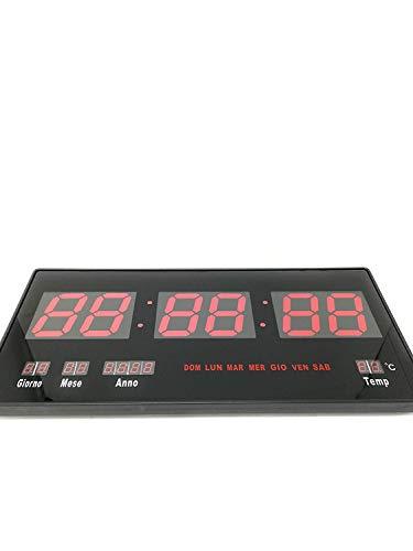 SLS SHOP Orologio Digitale A LED da Parete con Datario E Termostato Slim Data Temperatura