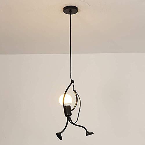 Lámpara colgante industrial moderna ContemporaCreative Lámpara colgante de metal negro Diseño de dibujos animados de bricolaje Iluminación colgante para la habitación de los niños Tienda Bar
