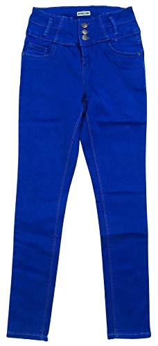 GetWivvit Filles Neuf Look Taille Haute Étroit Slim Jambe Jeans Extensible Ados Tailles De 9 pour 15 Ans - Bleu, 14 Years