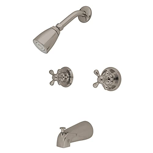 Kingston Brass KB248AX Twin Handle Tub and Shower Faucet with Decor Cross Handle, Satin Nickel,5-Inch Spout Reach