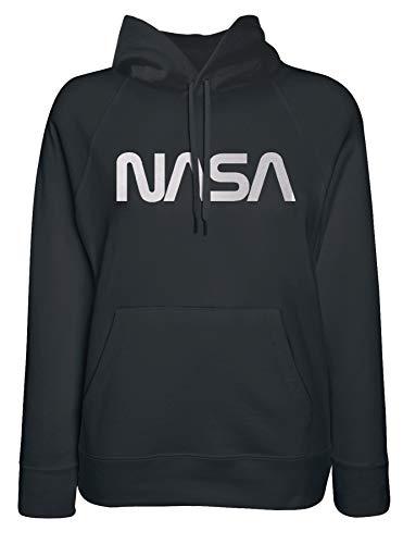 Felpa con Cappuccio Donna NASA Worm Logo - Merchandise Ufficiale NASA, Nero