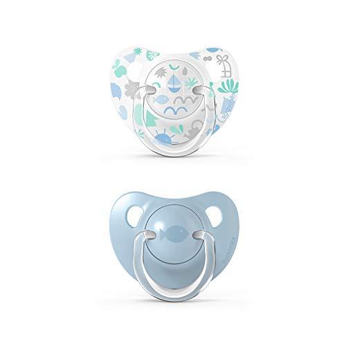 Suavinex 307143 Pack Chupetes para Bebés, Chupete con Tetina Anatómica de Silicona, Azul, 0-6 Meses, 2 Unidades