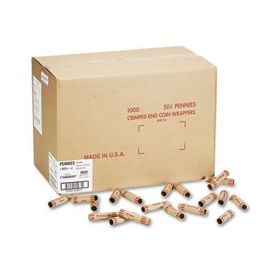 MMF Preformed Tubular Coin Wrappers, Pennies, $.50, 1,000 Wrappers per Box (Case of 3)