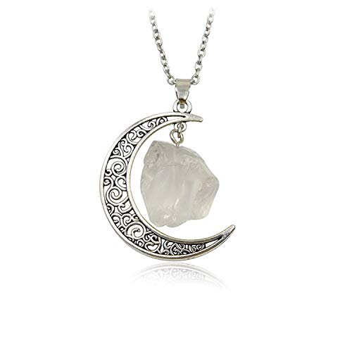 Collar con colgante de luna creciente grabada en plata con forma orgánica colgante de cuarzo blanco natural y cadena de plata