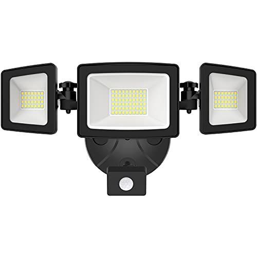 Onforu 50W LED Flood Light Outdoor with Motion Sensor, 5000lm Security Light Motion Detector with 3 Head, IP65 Waterproof Exterior Floodlight, 5000k Wall Light for Entryway, Yard, Garage