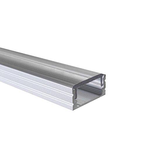 KLAR - 200 cm LED Aluminium Profil AUFPUTZ-KL + 200 cm transparent durchsichtige Abdeckung für LED-Streifen 2m Alu Profile Leisten von Alumino®