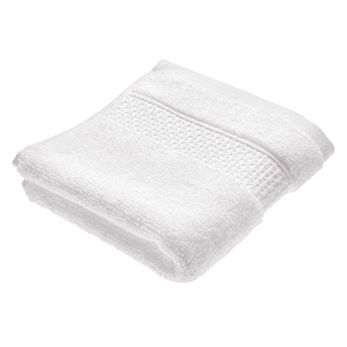 Price comparison product image iDesign Face Cloth,  Small Embellished Hand Towel Made of 100 Percent Cotton,  Soft Flannel Face Cloth for Face and Hands or for Shower and Bath,  White