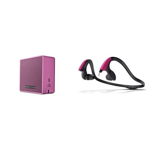 Energy Sistem Box 1+ Altavoz inalámbrico portátil con Bluetooth (5 W, microSD MP3, FM Radio) + Energy Sistem Auriculares Deportivos Running Two Neon Pink