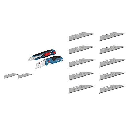 Bosch Professional 2 tlg. Messer Set (mit Universal Klappmesser und Profi Cuttermesser, inkl. Ersatzklingen, in Blister) + 10 Ersatzklingen für Klappmesser (inkl. Trapezklingen)