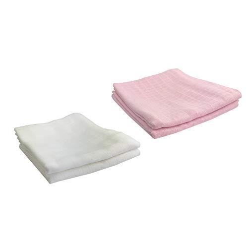 4 paños para bebé – paños para vómitos grandes, 100, 120, 140 y 160 cm, algodón para bebé, ecológico (2 blanco, 2 rosa, 120 x 120 cm)